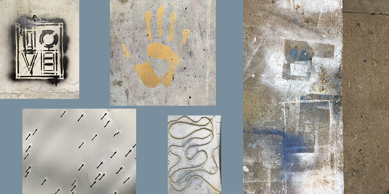 collage of projects and graffiti in alumni hall