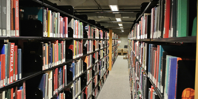 aisle between bookshelves in Wertz library