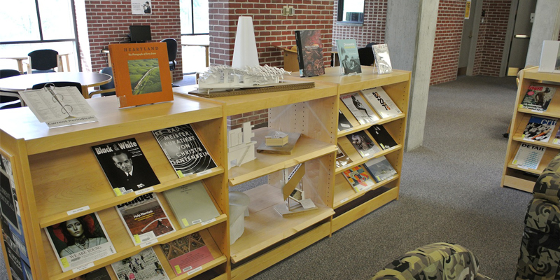 low bookshelves in Wertz library
