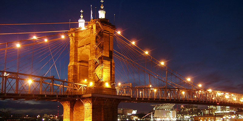 Roebling Suspension Bridge in Cincinnati, OH