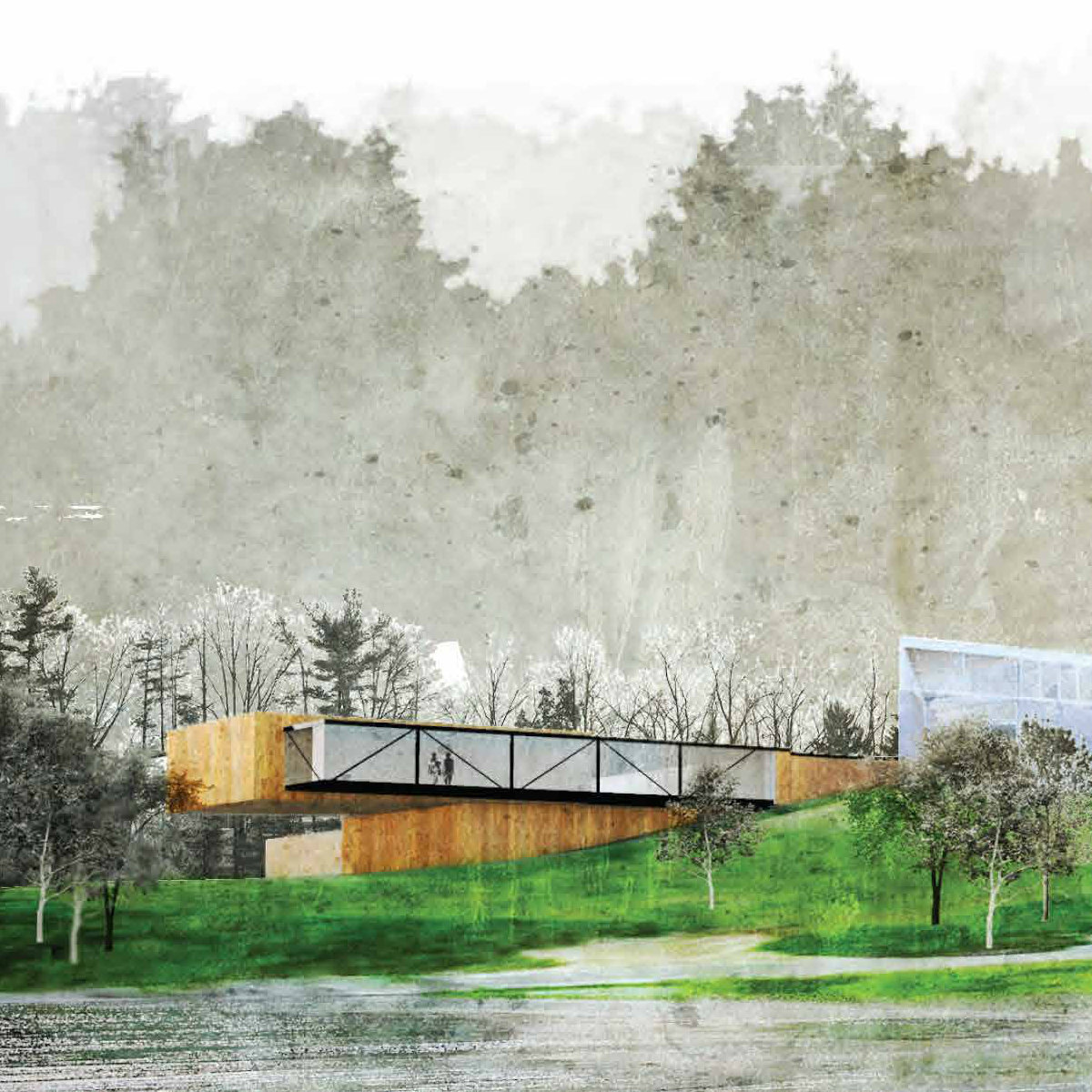 rendering of an art museum near a body of water