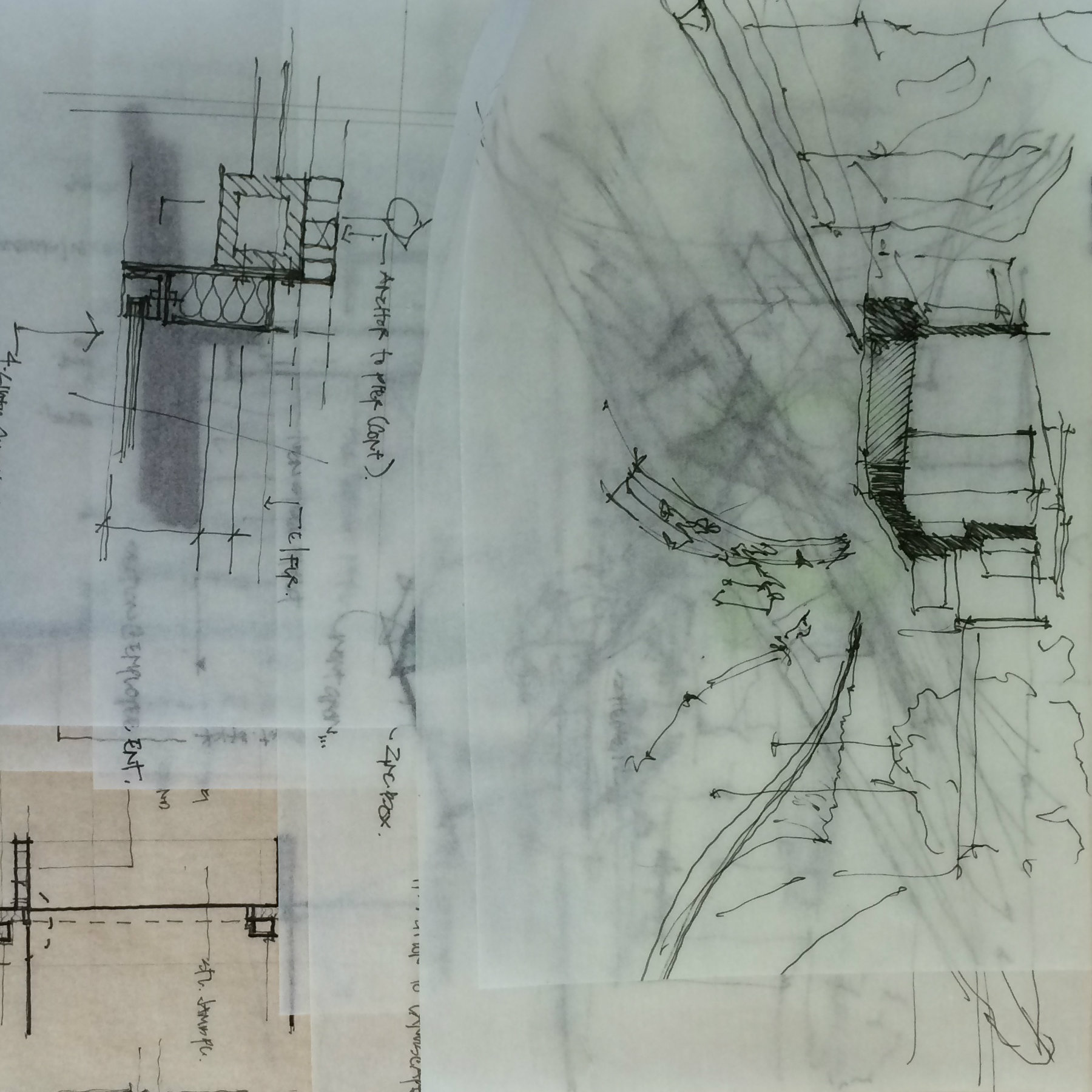 architectural drawings on trace paper