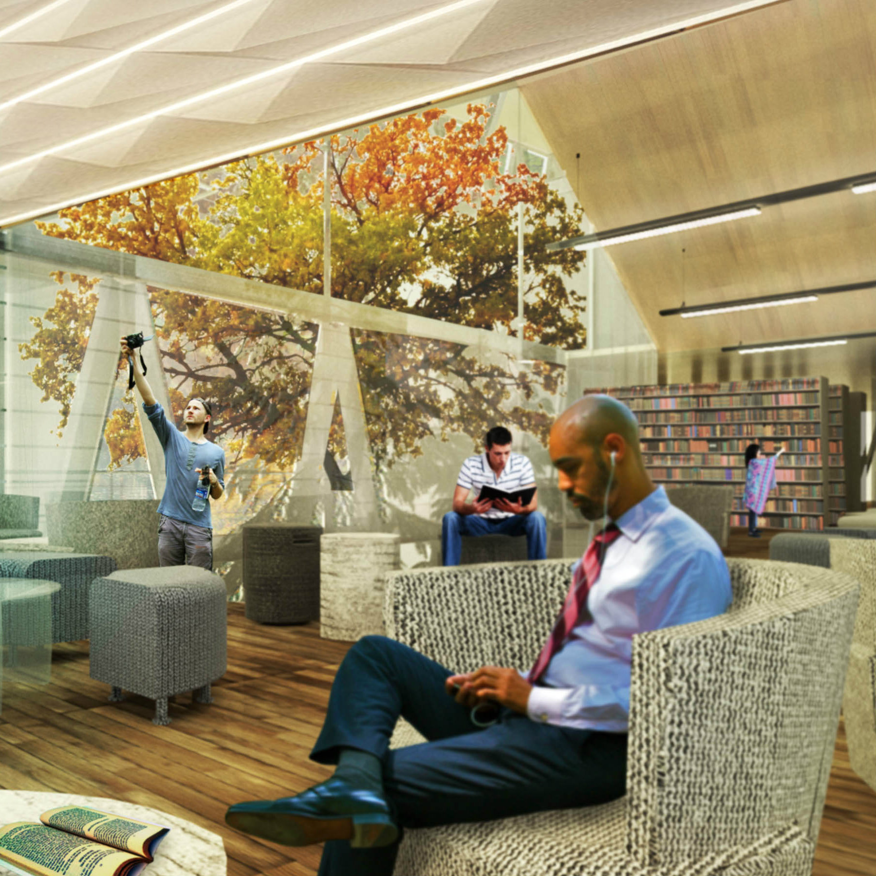 rendering of a library with a man reading a book