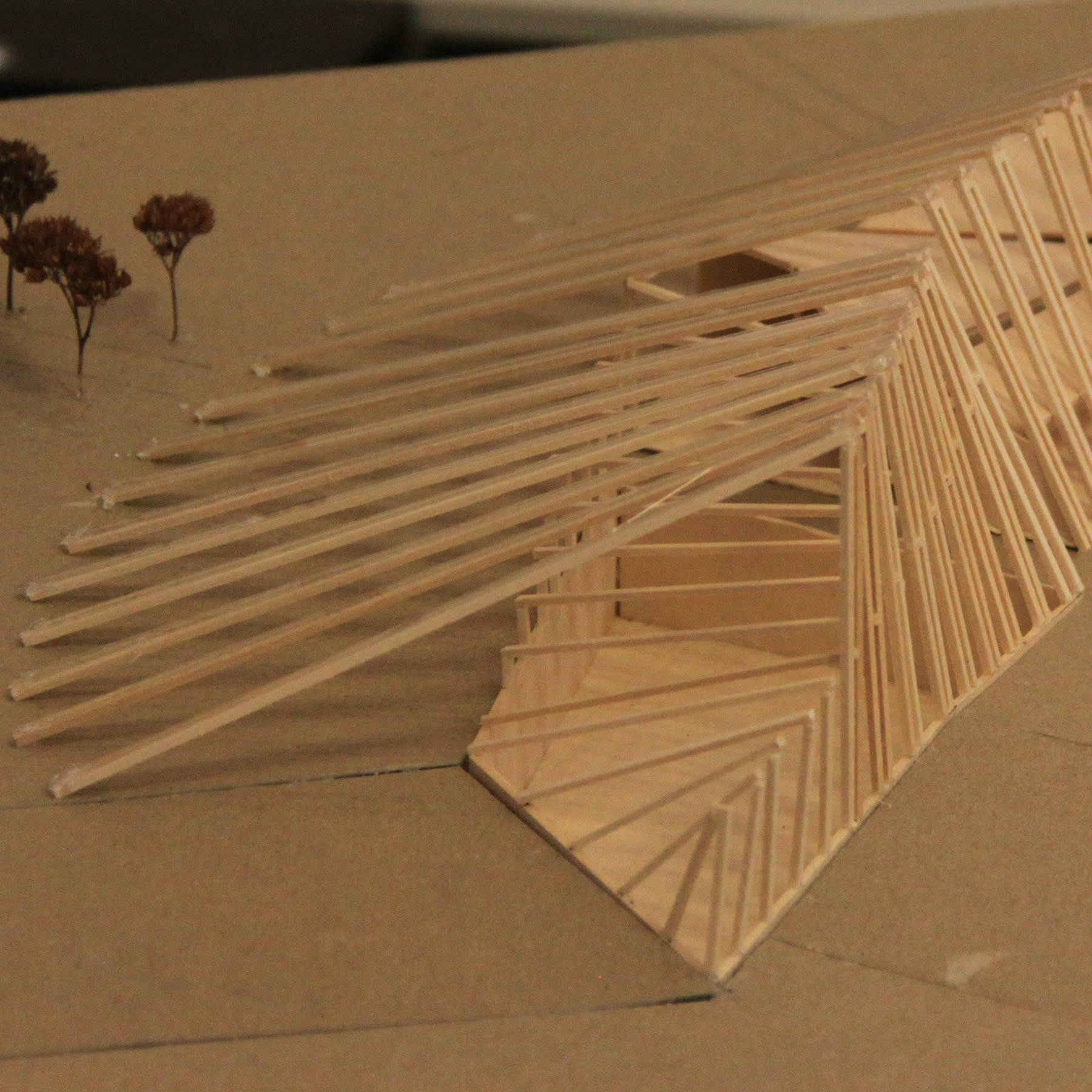wooden model of a pavilion