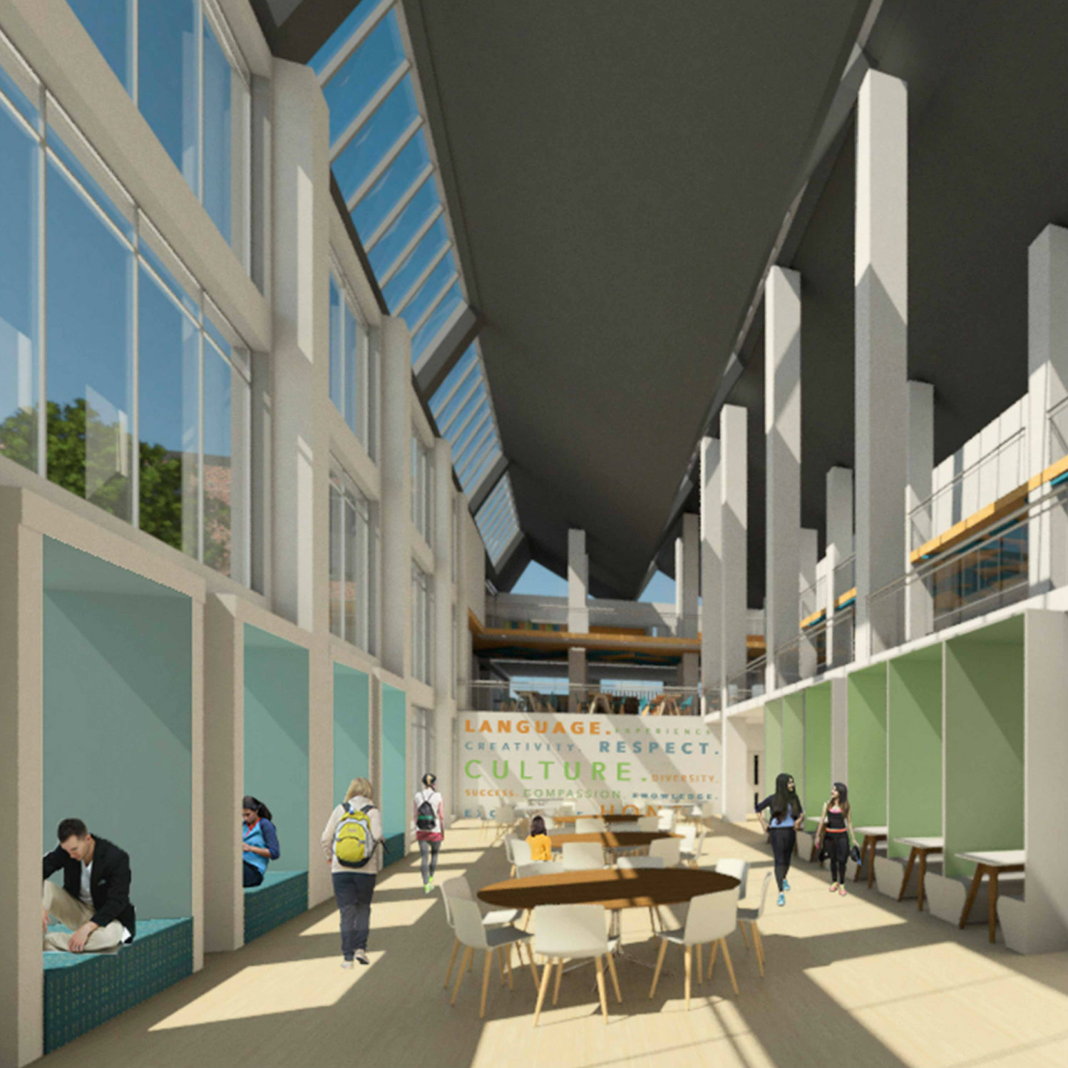 rendering of interior of school atrium