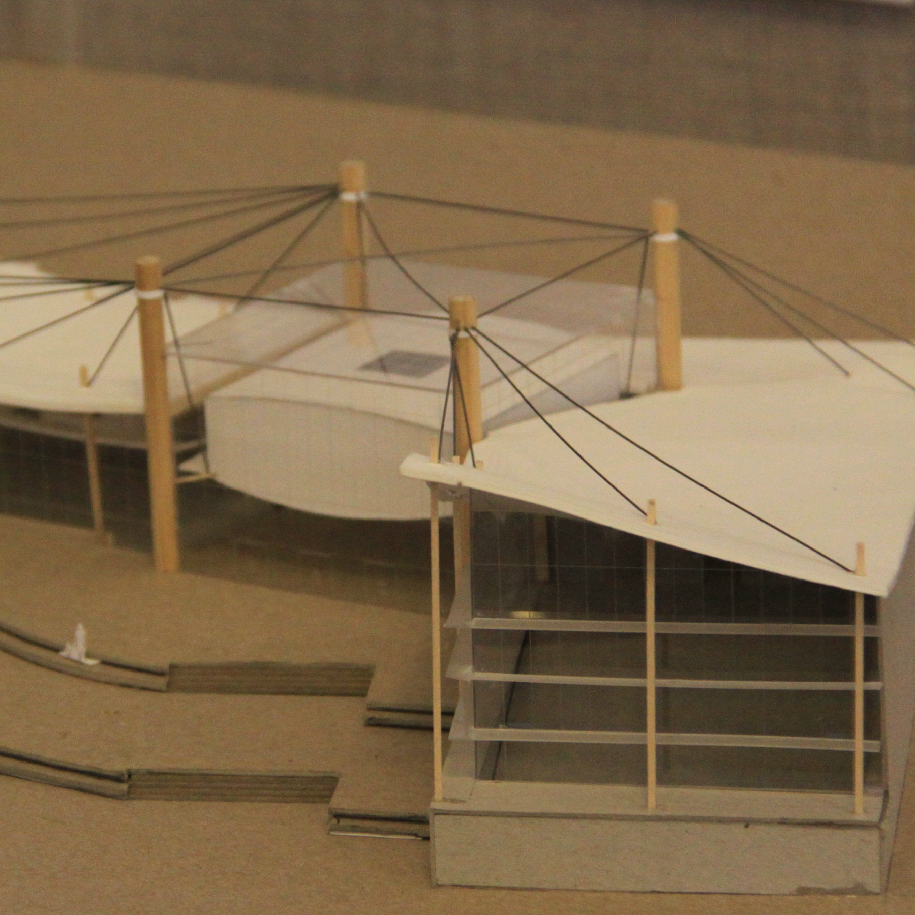 model of a building using tension wires