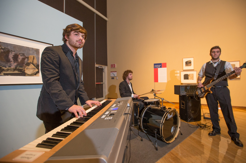 A rock band plays for the Winter Reception