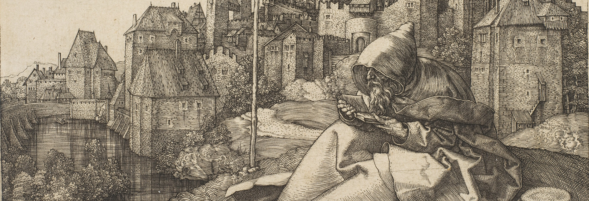 Detail from Albrecht Durer St. Anthony, 1519; engraving on paper, Miami University purchase, 1981.72