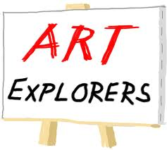 An easel with the words Art Explorers written on it