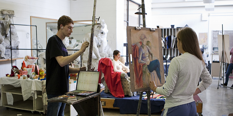 Students work on projects in the Drawing Studio