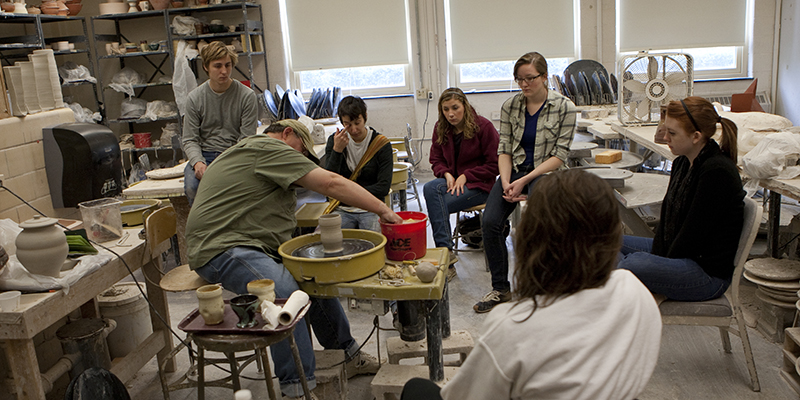 Students work in the Ceramics Studio