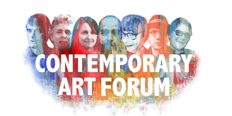 A colorful sketch of several people, standing behind the words 'Contemporary Art Forum'
