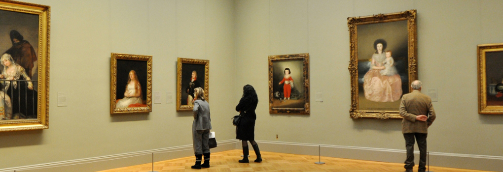 Patrons look at European Art in the Metropolitan Museum of Art