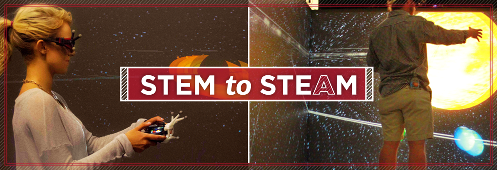 Images of AIMS students working in the CAVE. Text: STEM to STEAM
