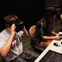Participants use Oculus Rift virtual reality headsets