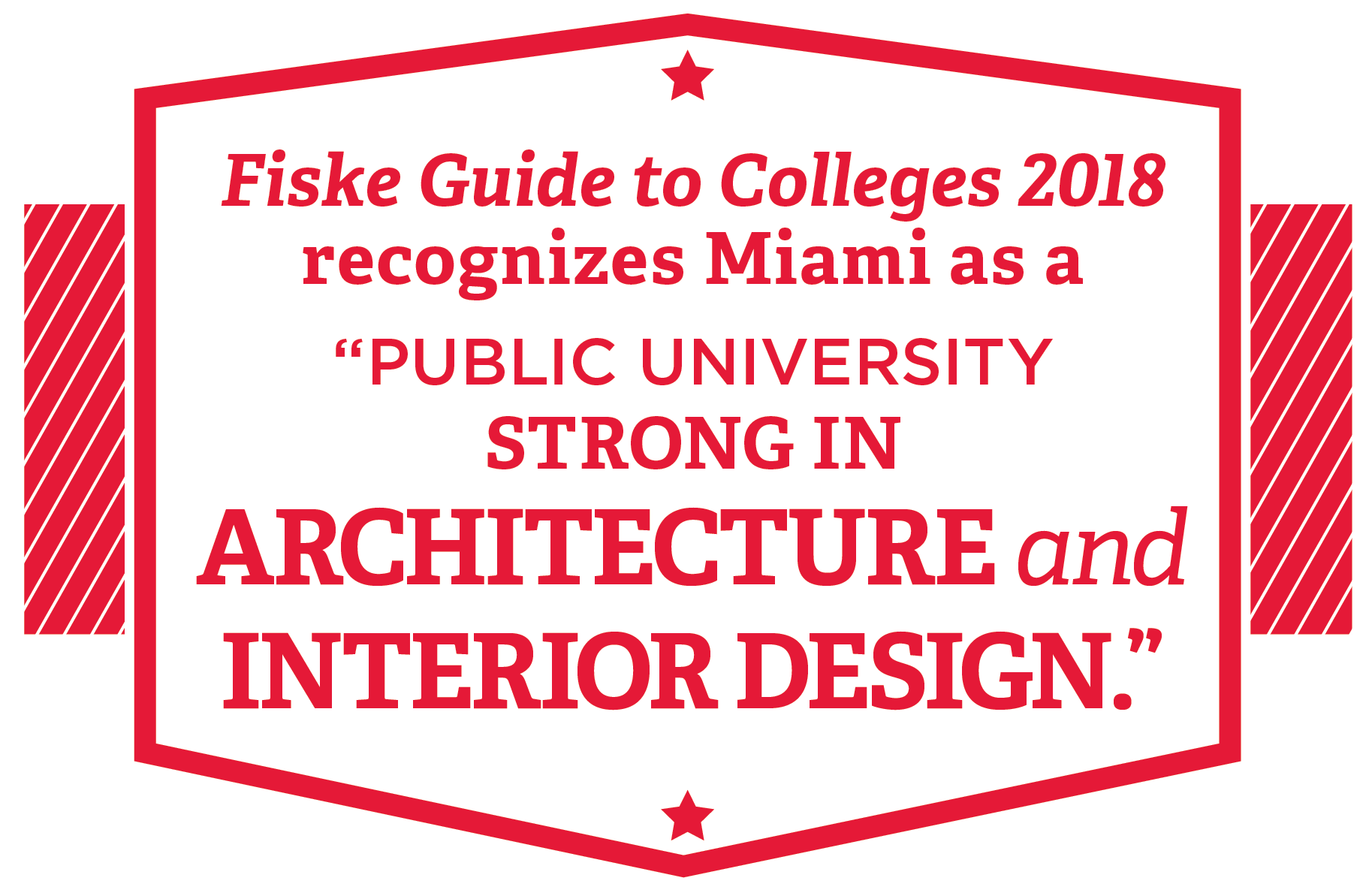 Fiske Guide to Colleges 2018 recognizes Miami as a public university strong in architecture and interior design