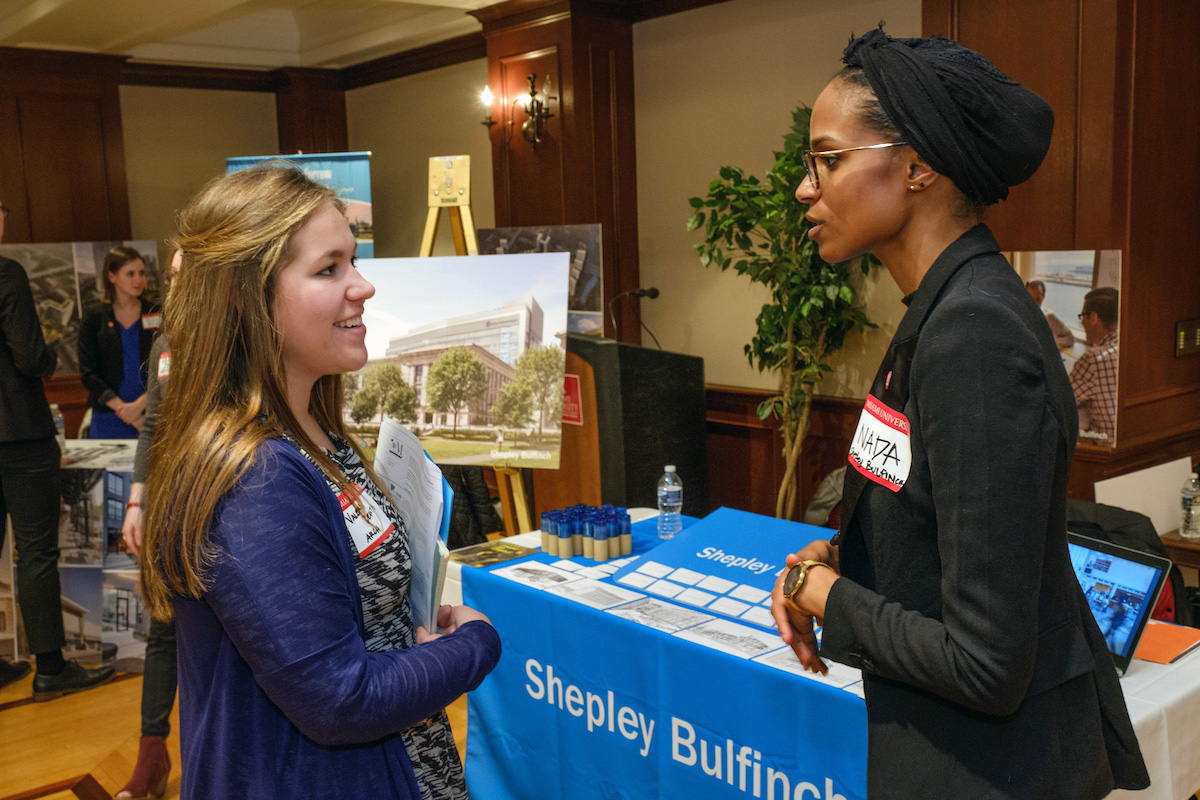 Architecture And Interior Design A Student Converses With Representative At The Arch ID Career Fair