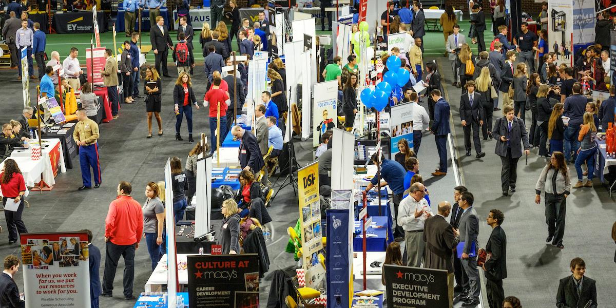 An overhead view of the Spring ICE Career Fair