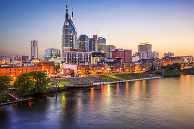 Nighttime view of downtown Nashville and the river