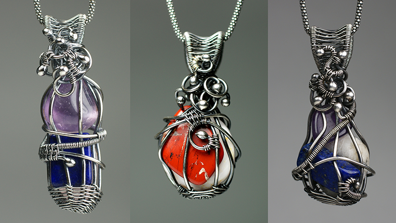 3 gemstone wire-wrapped pendants