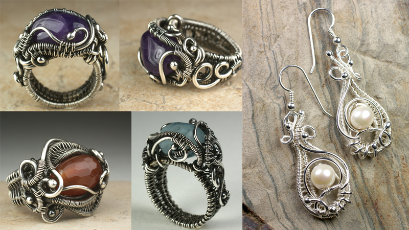 Wire-wrapped rings and earrings