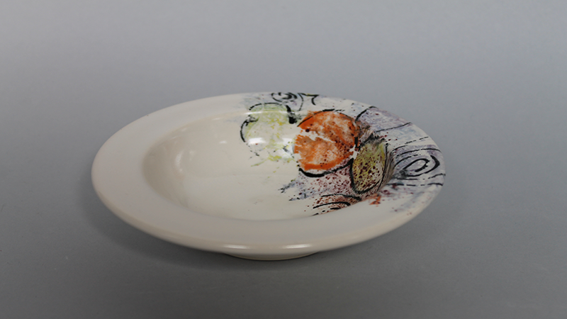 A decorated ceramic dish