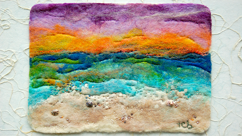 A colorful felt landscape
