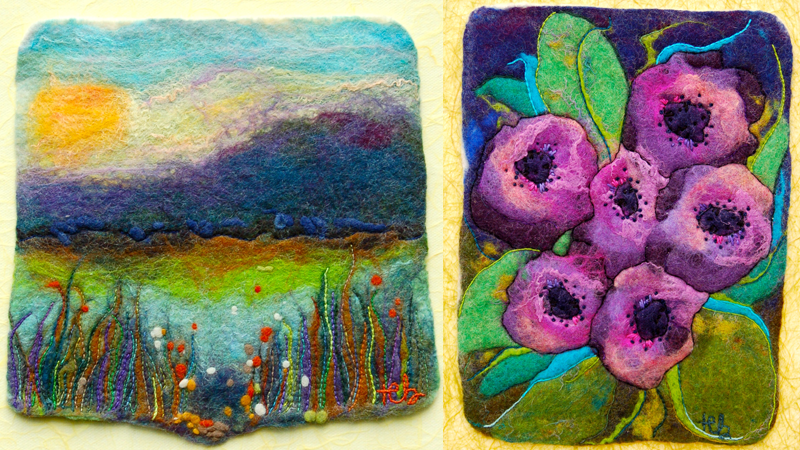 At left, a colorful landscape and pond. At right, purple flowers.
