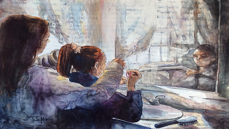 Reflections watercolor, depicting a woman styling a child