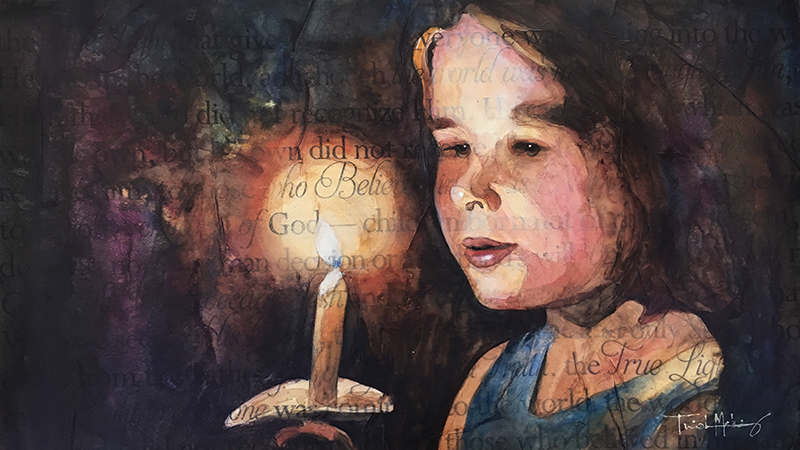 True Light watercolor, depicting a child with a candle