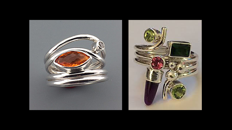 2 rings with inset stones