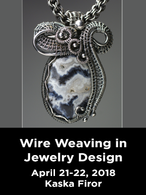 Assortment of stones set in wire rings. Text: Wire Weaving in Jewelry Design. April 21-22, 2018. Kaska Firor.