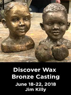 Two children's heads, in bronze. Text: Discover Wax Bronze Casting. June 18-22, 2018 Jim Killy