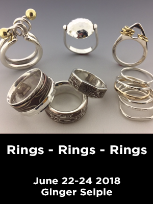 Assorted rings Text: Rings-Rings-Rings. June 22-24. Ginger Seiple