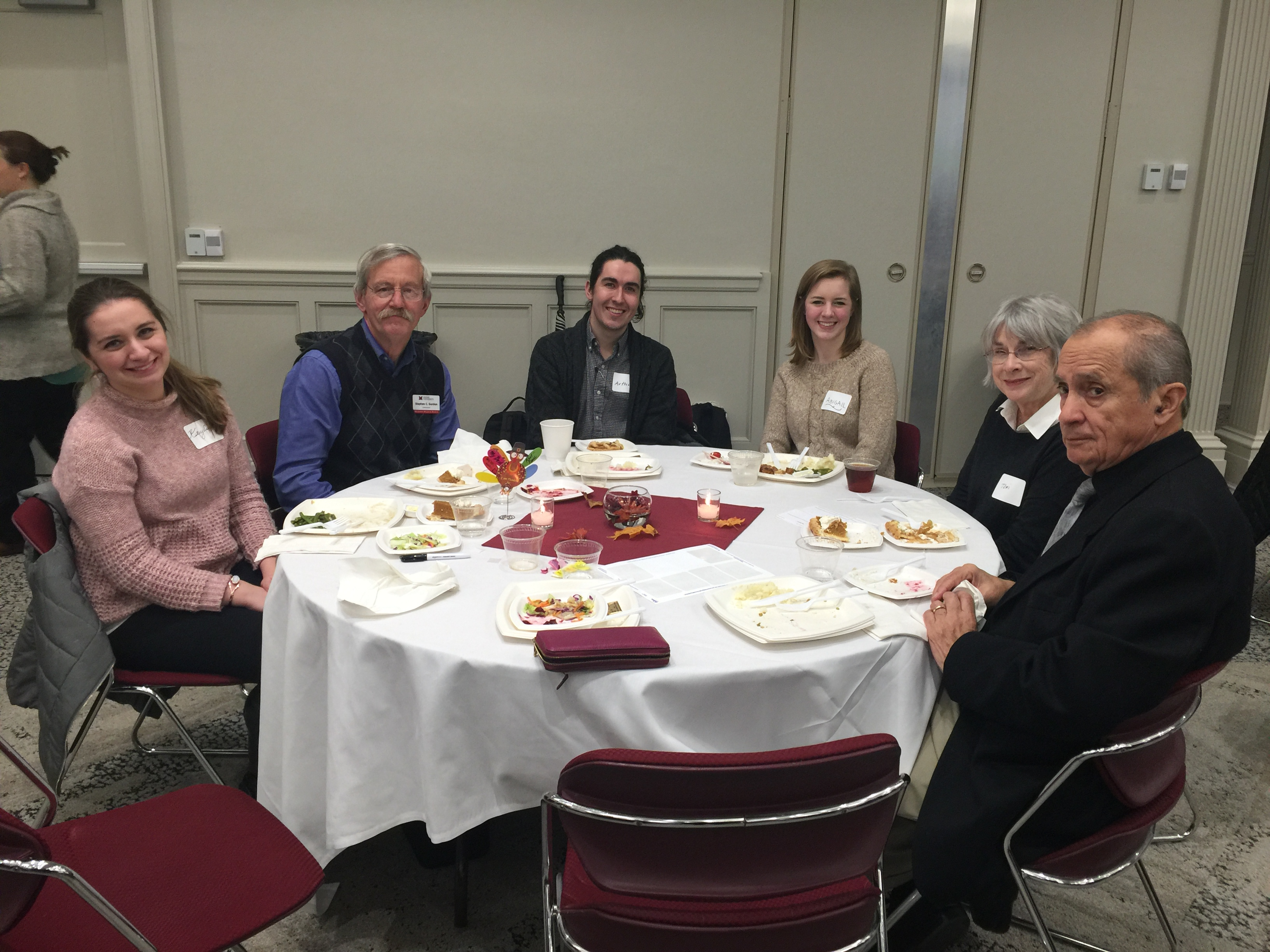 Kaylie Schunk and Steve Gordon join students and friends at the annual International Student and Scholar Services Thanksgiving Dinner