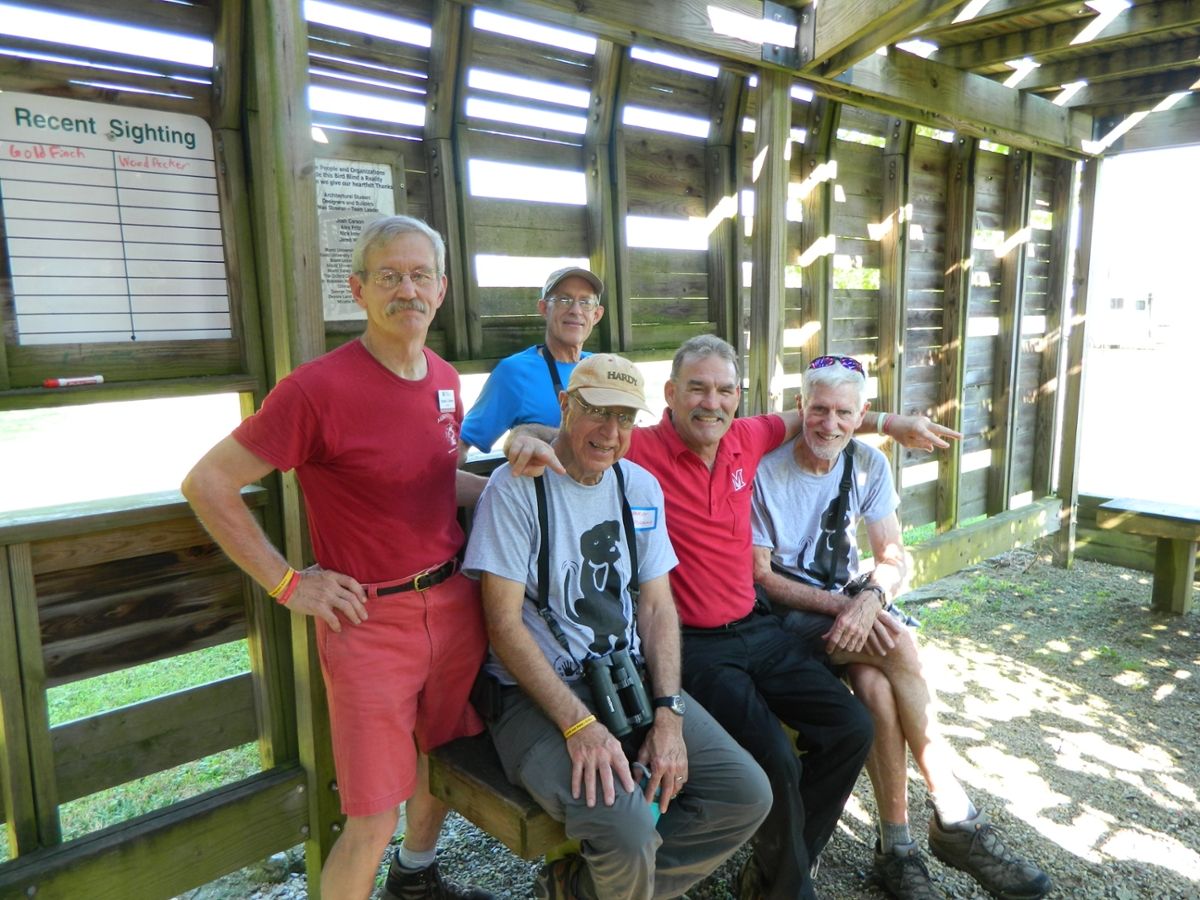 Steve Gordon and friends at the bird blind during the 2017 Hike-A-Thon Plus