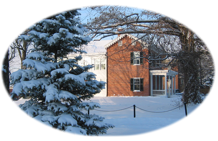 The McGuffey House on a snowy day