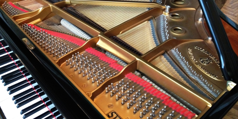 Interior of a Steinway grand piano