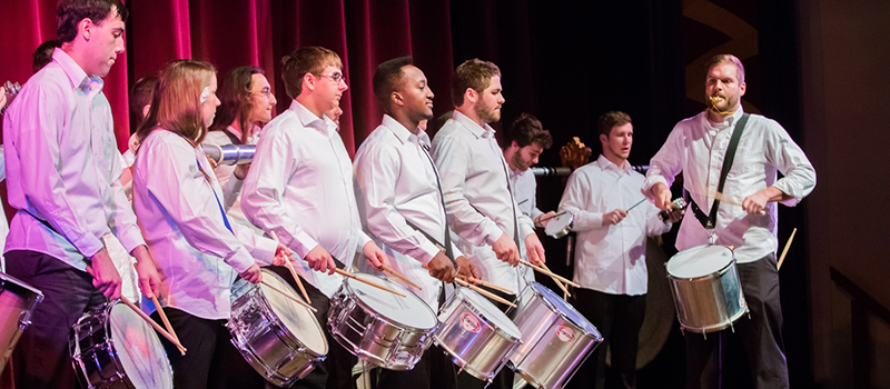 A drumline in concert