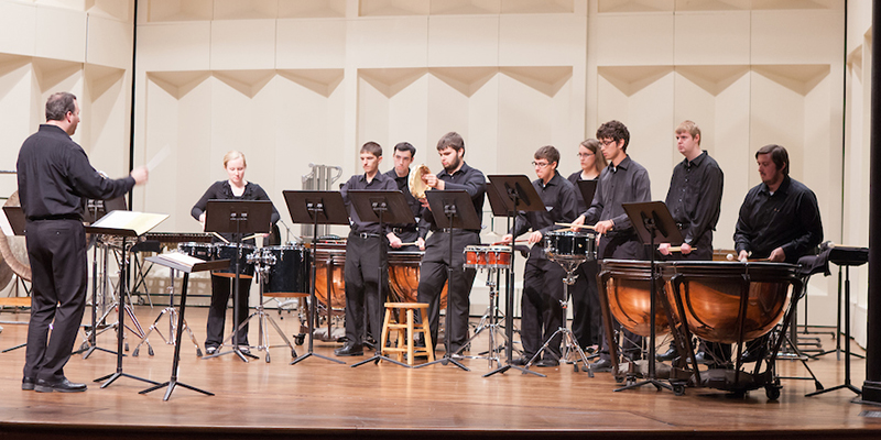 Percussion Ensemble performs on Hall Auditorium stage