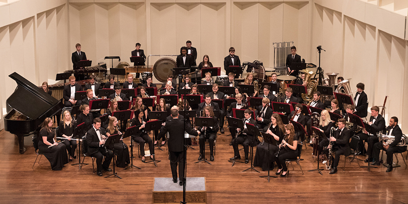 Symphony Band on stage at Hall Auditorium