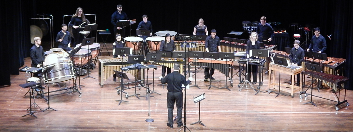 Percussion Ensemble performing onstage at Hall Auditorium