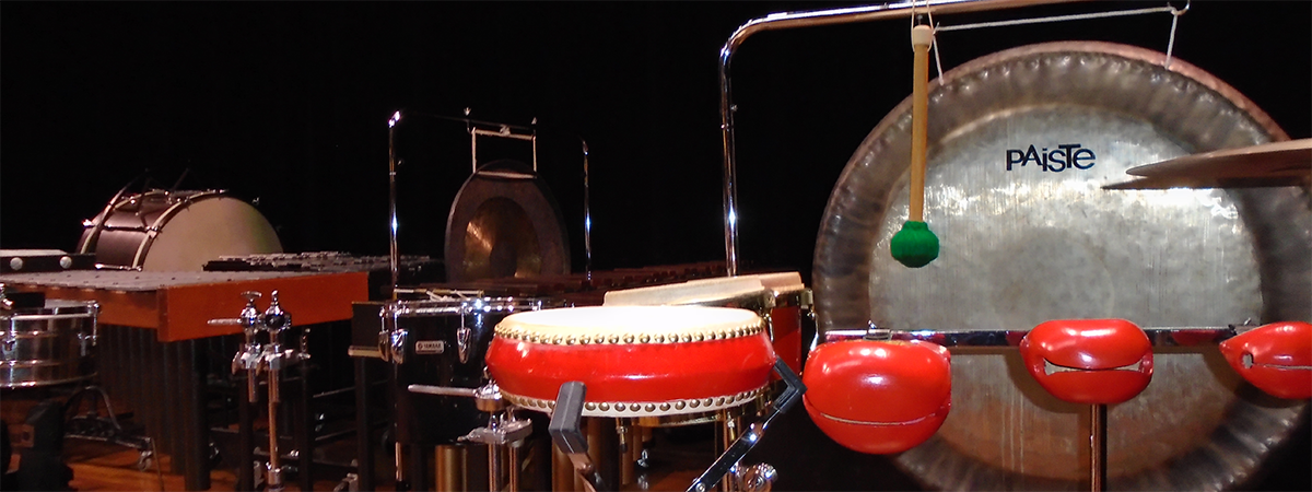 An assortment of percussion equipment, including world instruments