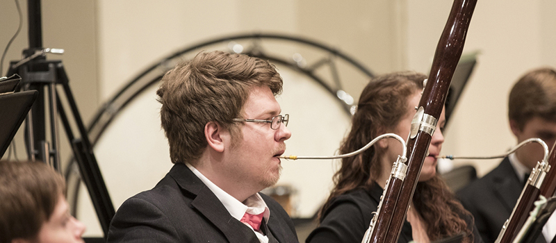 Bassoon players perform in the Symphony Orchestra concert