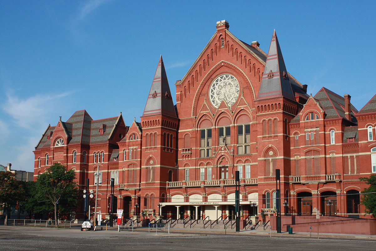 Exterior of Music Hall on a sunny day