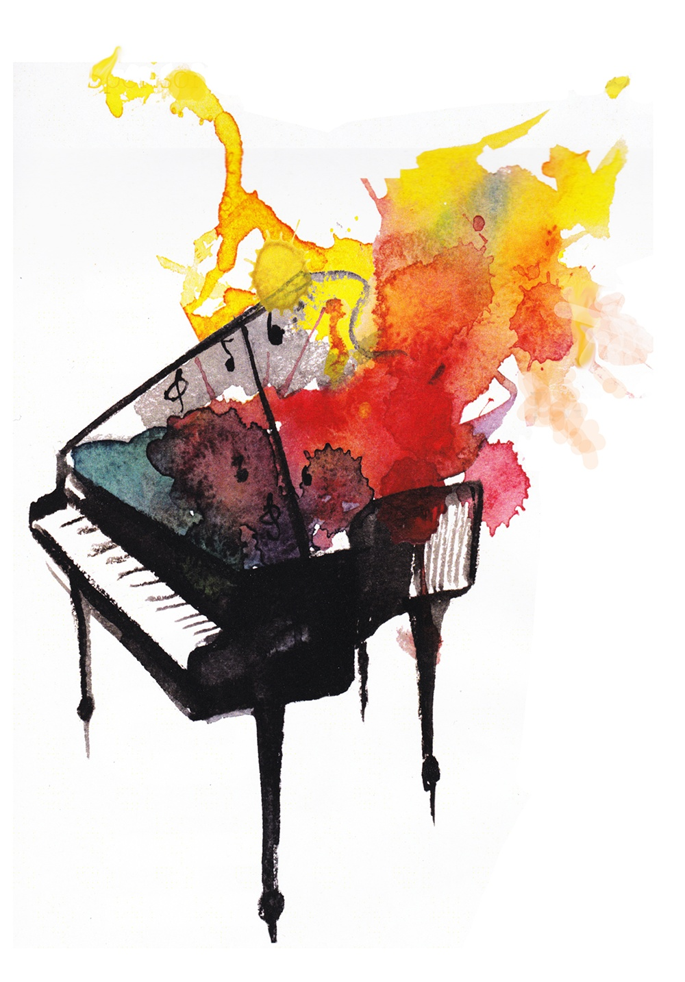 A watercolor piano with colorful 'sound' splashing from it