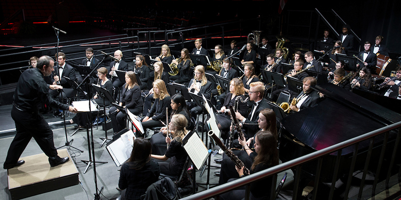 The Wind Ensemble performs at President Crawford's inauguration at Millett Hall
