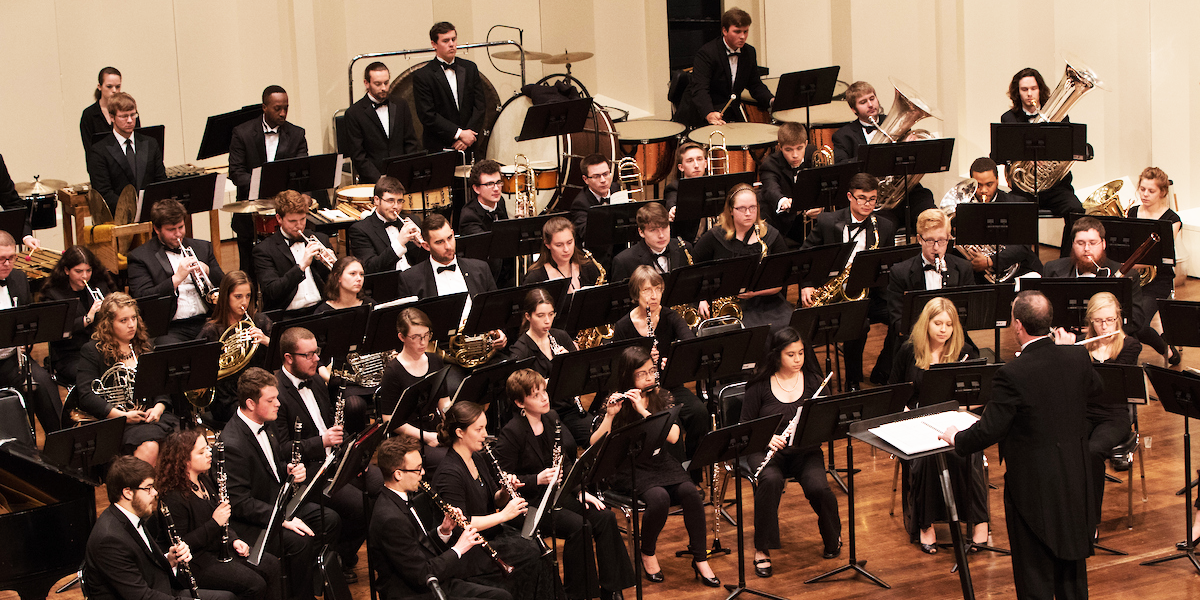 The Wind Ensemble onstage at Hall Auditorium