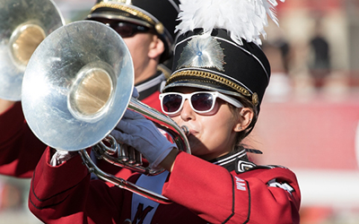 Mellophone player in marching band