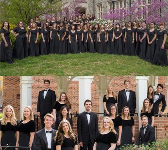 A composite showing chamber singers and choraliers group photos